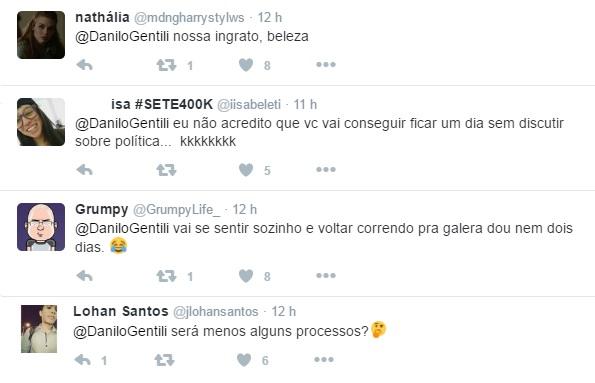 Internautas respondem a mensagem de Danilo Gentili sobre férias do Twitter