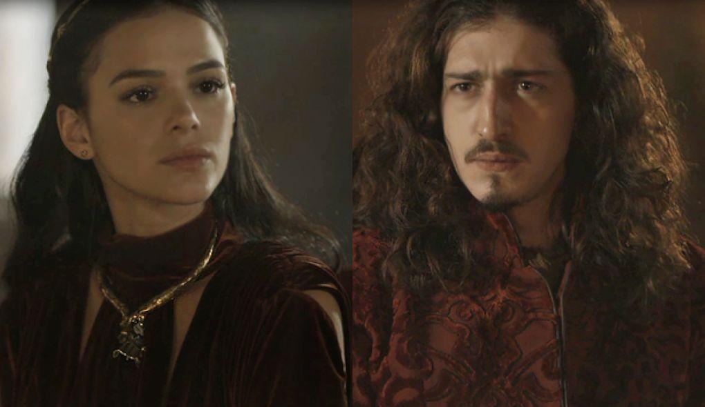 Catarina (Bruna Marquezine) e Rodolfo (Johnny Massaro) de Deus Salve o Rei