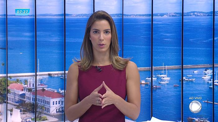Jéssica Smetak na estreia do novo Bahia no Ar na RecordTV Itapoan (Divulgação)