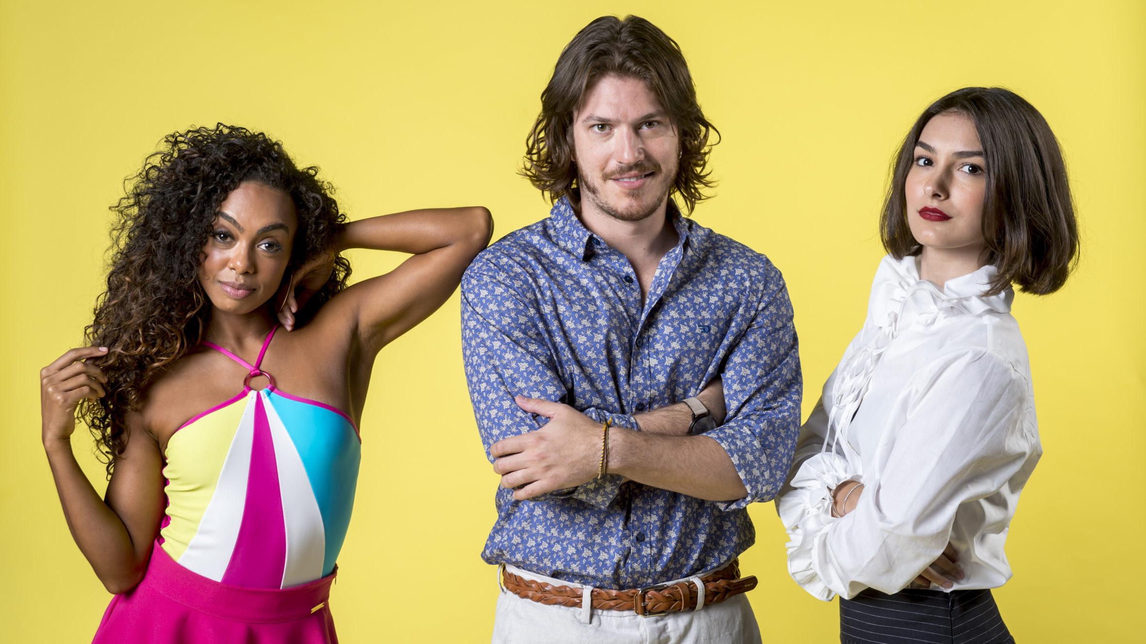 Quinzinho (Caio Paduan) , Larissa (Marina Moschen) e Dandara (Dandara Mariana) em Verão 90