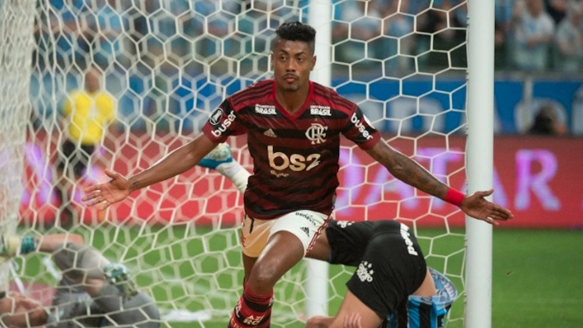 Bruno Henrique comemorando gol do Flamengo contra o Grêmio (Divulgação)