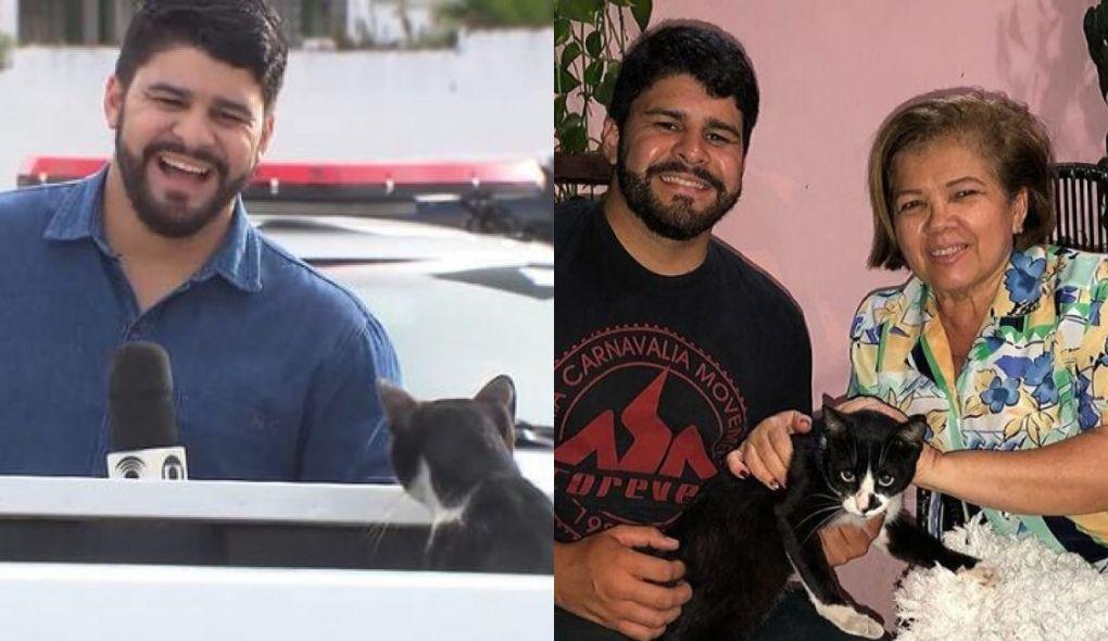 Artur Lira, repórter da TV Globo, com tia e gato que invadiu matéria