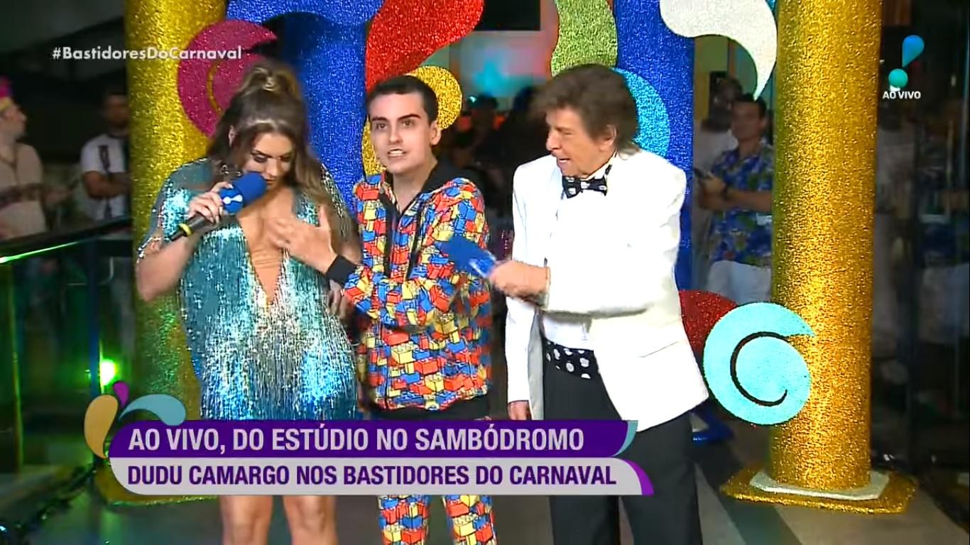Simony, Dudu Camargo e Nelson Rubens no Bastidores do Carnaval