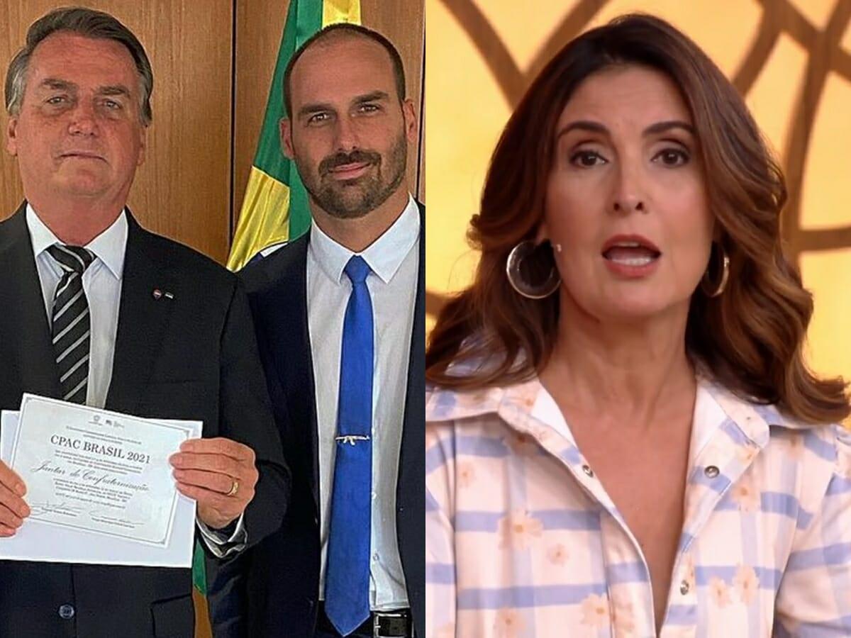 """Fátima Bernardes rebate filho de Bolsonaro: """"Quer jogar dúvidas, não esclarecer"""""""